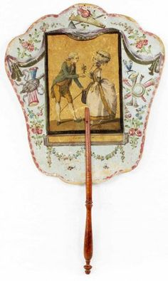 Illustrated theater fan screen, fourth quarter 18th century, French school