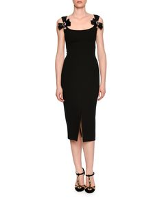 Dolce & Gabbana Bow-Front Scoop-Neck Cocktail Dress, Black