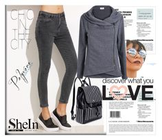 """""""SheIn - Faux Leather Backpack!"""" by rilner ❤ liked on Polyvore featuring Forever 21"""