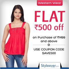 Festive Offer on Western Dresses!!  Flat Rs 500 off on purchase of Rs 1499 and above. Use Coupon Code: SAVE500