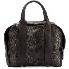 Liebeskind Berlin Snakeskin-Embossed Leather Satchel ($398) ❤ liked on Polyvore featuring bags, handbags, black, satchel handbags, satchel purses, embossed leather handbags, snakeskin purse and genuine leather satchel handbags