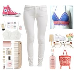 Spring Celebrations by womanpuli on Polyvore featuring moda, 7 For All Mankind, Converse, Candela, Jeffrey Campbell, Forever 21, RetroSuperFuture, Benefit, Sephora Collection and Laura Mercier