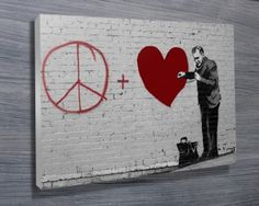 We have a collection of more than 60 great Banksy Art Prints, these prints of the graffiti artworks include many of his most famous art such as Balloon Girl Banksy Canvas Prints, Banksy Artwork, Art Prints, Banksy Artist, Artist Wall, Canvas Prints Australia, Peaceful Heart, Framed Art, Wall Art