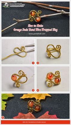 How to Make Orange Jade Bead Wire Wrapped Ring Wrap the thick aluminum wire into a ring and use the thin copper wire to coil the jade bead onto the ring, then a delicate ring is made.