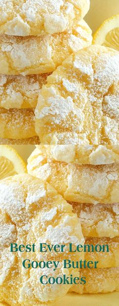 Best Ever Lemon Gooey Butter Cookies (lemon recipes) Lemon Desserts, Lemon Recipes, Cookie Desserts, Baby Food Recipes, Sweet Recipes, Baking Recipes, Delicious Desserts, Dessert Recipes, Yummy Food