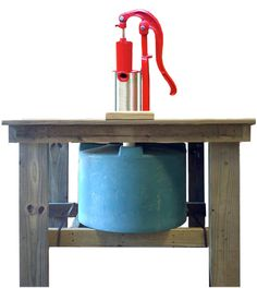 hand pump with cistern for water play