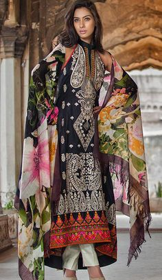 Buy Black Embroidered Linen A-Line Dress by Rabea Winter Collection