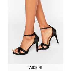 New Look Wide Fit Suedette Barely There Heeled Sandal ($29) ❤ liked on Polyvore featuring shoes, sandals, black, black heeled sandals, black strappy sandals, strap heel sandals, strap sandals and black ankle strap sandals