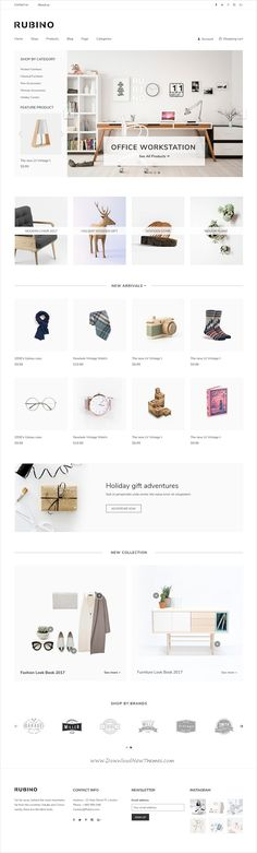 Rubino is a minimal, creative and modern design #PSD template for #minimalist #eCommerce website with 8 homepage layouts, 5 portfolio, 7 shop pages and 45 layered PSD pages download now➩ https://themeforest.net/item/rubino-minimal-creative-psd-template/19367119?ref=Datasata