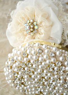 Cream white pearl clutch with chiffron rose