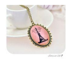 lange Vintage Kette Pariser Eifelturm rosa  im weißen...