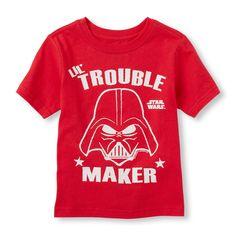 Toddler Boy's Long Sleeve Star Wars 'Lil' Trouble Maker' Darth Vader Raglan Tee   Kids Fashion