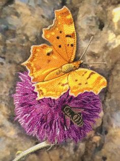Butterfly, bee, and thistle flower: thread painting by Sonya Prchal (New Zealand). Workshop.
