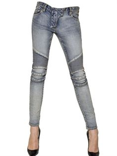 DENIM HEAVEN BALMAIN - STRETCH COTTON DENIM BIKER JEANS designer jeans, knee patch details