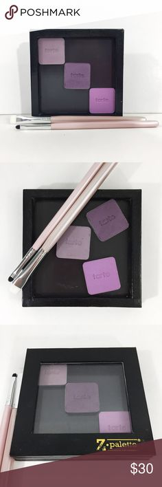 """tarte Eye Shadow,  Z Palette & Brush Bundle 3 vintage tarte eyeshadow pans in It Girl (matte grey-lavender, swatched lightly), West Egg (microglitter plum) and E/S? (matte bright pink-lavender, small nick in it) in a 3""""x3"""" Z Palette. Eyeshadows never used. Includes lining brush and small lining brush, approximately 5"""" long, both new. Only sold together. tarte Makeup"""