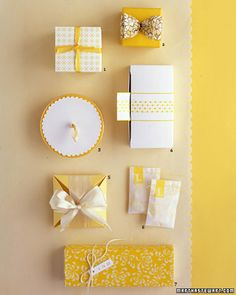 Yellow and White Wedding Favors    These pretty packages are true to the color scheme through and through. Boxes and bags decorated with cheery fabric, paper, or ribbon open up to reveal candies and cookies in coordinating hues. The favors are quick and easy to assemble -- even if you have hundreds of guests -- yet each is so special, it will feel as if it's one of a kind.    1. Japanese jelly candies rest inside nesting boxes; the lid is topped with a patterned sticker and tied on with…