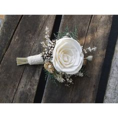 Sola Rose Boutonniere with Dried Flowers MADE TO ORDER ($13) ❤ liked on Polyvore featuring accessories and sola