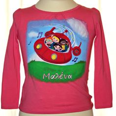 Hand painted girl's t shirt, featuring Little Einsteins. A girl's name (Malena) is written in Greek. The colors are non-toxic, water based, permanent fabric colors. Little Einsteins, Cute Little Girls, Gifts For Girls, Graphic Sweatshirt, T Shirt, Cotton Fabric, Long Sleeve Tees, Greek, Hand Painted