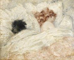 Femme Endormie avec son Chien.(Woman Sleeping with her Dog)   -    Louis Icart
