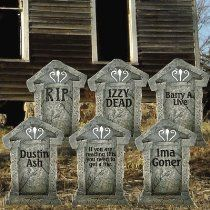 "Create a grave yard in your front yard with these beautiful full color fake tombstones. Buy the whole set which includes 6 tombstones (one of each design) and 12 EZ wires, for displaying in your yard. Or purchase singles of your favorite design. Digitally printed on 4 mil corrugated plastic these 21.3""x14.8"" fake tombstones are easy to display. Price: $45.99."