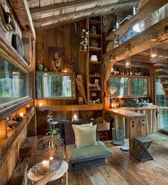 I don't normally go info uber rustic, however there is something very cosy and appealing about this space, I do believe in really going for the look and this place looks to be in a forest so is in line with its surrounding which I love.  Its Scott Newkirk House, Yulan, NY.