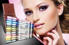 12 Glitter Eye Pencils & Carry Case