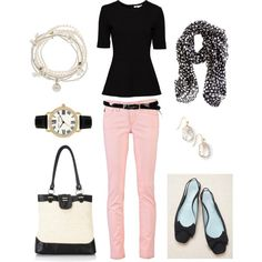 """Dressy Summer Look"" very classic, I love pink and black"