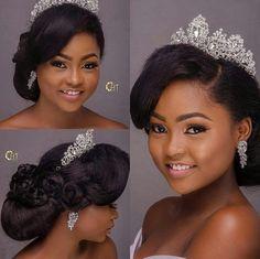Black Brides Hairstyles, Wedding Bun Hairstyles, Prom Hair Updo, Hairdo Wedding, Prom Hair Medium, Medium Hair Styles, Natural Hair Styles, Bridal Makeup, Bridal Hair