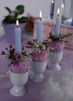 Easter use egg cups for small flowers. :-)