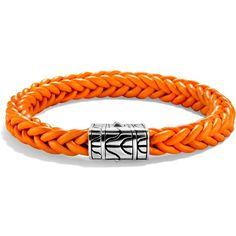John Hardy Limited Edition Classic Chain Sterling Silver and Orange... ($400) ❤ liked on Polyvore featuring jewelry, bracelets, braided leather bracelet, macrame bracelet, sterling silver bangles, woven leather bracelet and sterling silver jewellery