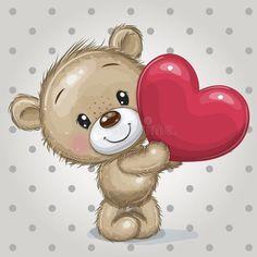 Urso Bear, Teddy Bear With Heart, Cute Teddy Bears, Teddy Bear Cartoon, Free Illustrations, Cute Cartoon, Art Day, Hello Kitty, Felt