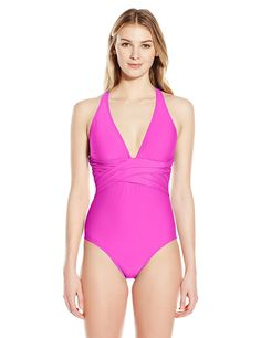 ATHENA Women's Cabana Solids Cross Back One Piece Swimsuit ** You can get more details by clicking on the image.