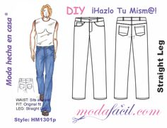 Download free patterns of jeans for men Straight Cut available in 13 sizes from youth sizes up to extra-large Sizes