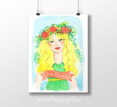 Items similar to I'm Blessed - Various Dimensions - ART PRINT ; Wall art on Etsy Watercolor Illustration, Digital Illustration, Watercolor Paintings, Oil Paintings, Watercolors, Party Items, Party Gifts, Girls With Flowers, Great Wedding Gifts
