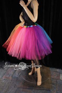 Rainbow Tutu Tulle Skirt Knee Length Adult Pride Run Race Dance Costume Carnival EDC Rave Club