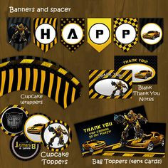 Bumblebee Transformers Printable Birthday Party Package - Bumble bee Complete Birthday Set - Invitation, cupcake toppers, banner etc Pirate Invitations, Printable Birthday Invitations, Bumble Bee Birthday, Boy Birthday, Birthday Ideas, Bumblebee Transformers, Transformers Birthday Parties, Transformer Birthday, Birthday Packages