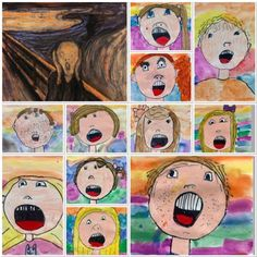 Art education high school - Oh My! Those SCREAMING First Graders! Soul Sisters, Sisters Art, First Grade Art, 5th Grade Art, Kindergarten Art Projects, Art Education Projects, Le Cri, Fall Art Projects, Arts Integration