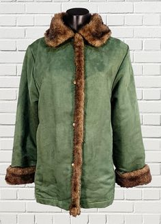 MILLER'S ladies fleece lined green and brown faux suede and fur jackets stud fasteners size M by sprocket2chain - $35.00