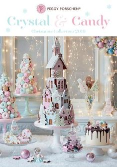 Crystal Candy Christmas Collection by Peggy Porschen Cakes Ltd - issuu christmas candy Christmas Gingerbread House, Christmas Sweets, Christmas Cooking, Pink Christmas, Christmas Candy, Gingerbread Houses, Gingerbread Cake, Christmas Food Hampers, Christmas Themed Cake