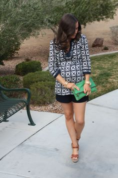 Navy and White Tunic, Navy Shorts, Cognac Wedge Sandals, Emerald Green Foldover Clutch, J.Crew Factory, J.Crew, Clare V 4