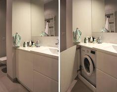 pralka w łazience - zbudowana w szafce