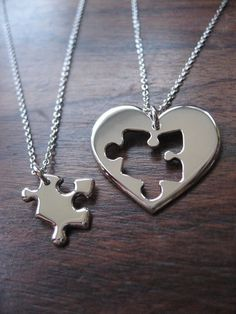 4614e67734 Puzzle Heart Couples Necklace...♥ pinned by wootandhammy.com ♥ thoughtful  jewelry