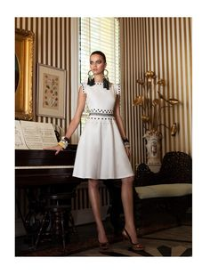 White Dress - Black Earrings - Barbara Fialho Gets Tropical for Elle Mexico January 2013, Shot by Danny Cardozo