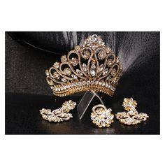 Unique handmade princess tiara crown wedding tiara, crystal gold tia ❤ liked on Polyvore featuring accessories, hair accessories, crystal crown, crystal tiara, gold bridal hair accessories, crown tiara and bridal tiaras