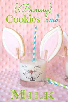 Munchkin Munchies: {Bunny} Cookies and Milk. Drink your milk, dip your bunny ears in the milk, nibble (as bunnies do) and ENJOY! Make some of these cookies for your favorite munchkins to let them know that somebunny loves them:) Hoppy Easter, Easter Bunny, Easter Eggs, Easter Food, Easter Drink, April Easter, Easter Cookies, Easter Treats, Easter Snacks