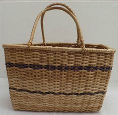 Vintage Fabulous  Hand Made  Sand & Purple Wicker Shopping Basket / Bag