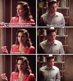 """You gave him a cold?"" - Daniel and Peggy #AgentCarter"