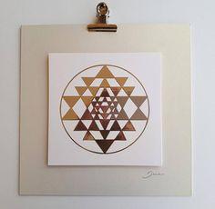 Sry Yantra art print on foil,  Sacred Geometry art design, wall decor, wall art, paper collage, silver print, collage art, hotel decor