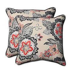 Rich neutral shaded fabric bursts with ebony and coral flowers decorated with dots and stripes. This fun playful fabric brings darker shades to life matching the wood of your furniture while the warmth of the coral blooms reminds you of the heat of summer. This classic vibrant print will add a timeless touch to your outdoor decor. See these 18.5-inch pillows on any outdoor surface and feel an instant pick me up from the cheerful design. Features. Coordinating Trim Sewn Seam Closure. Resists…