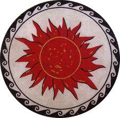 Red Sun Medallion Marble Mosaic